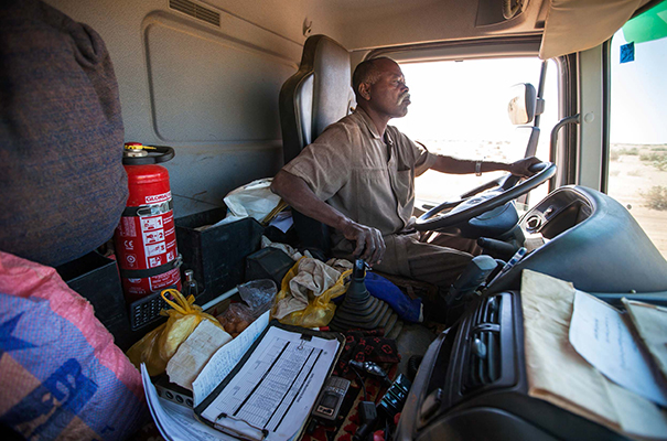 Truck drivers are among the key populations vulnerable to HIV/AIDS infection along transport corridors. Photo: Albert Gonzalez Farran/UNAMID.